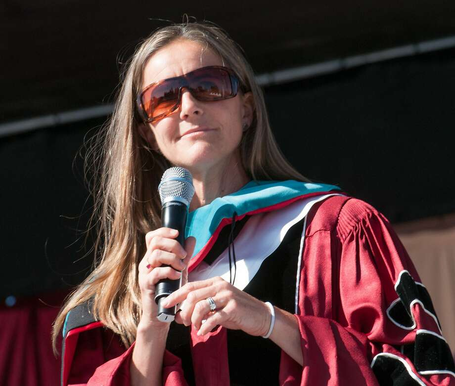 Brandi Chastain, the undergraduate commencement speaker Santa Clara University, reminds grads of the impact they can make on young lives on Saturday June 14, 2014. Photo: Charles Berry, Santa Clara University
