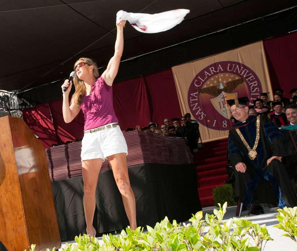 soccer star brandi chastain tells scu graduates to be impact  brandi chastain the undergraduate commence speaker at santa clara university waves her shirt in