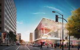 The plans for the expanded Moscone Center on the south side of Howard Street have been refined to give more depth to the wall facing the street, while the size of the third level has been reduced to keep from overwhelming the children's playground below.