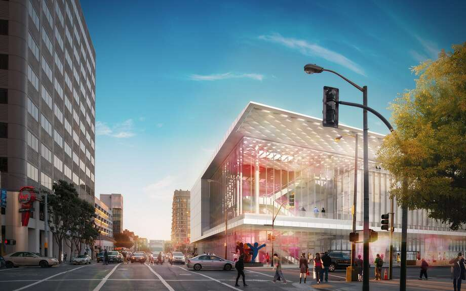 The new design for the corner of Third and Howard streets combines the upper floors into a glassed-in grand foyer offering views of the downtown skyline and playing up the Moscone's visual prominence from the east. Photo: Courtesy SOM