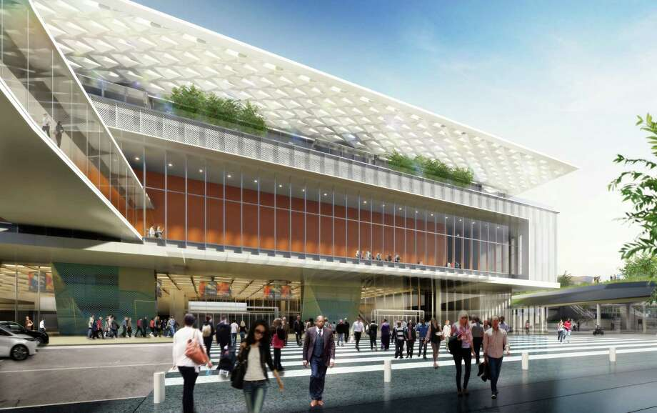 While the overall design for the Moscone expansion has been altered, nipped and tucked, some portions have barely changed. This is the new version of how the building would meet the middle of the block on Howard Street, including a third-floor pedestrian bridge… Photo: Courtesy SOM