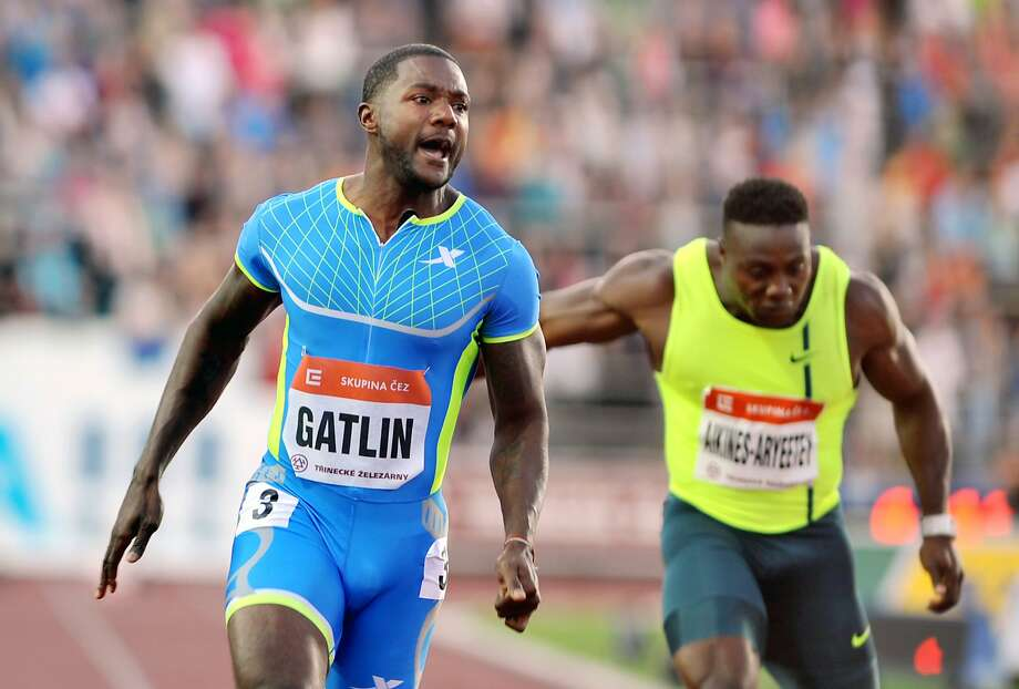 Justin Gatlin wins the 100 meters at the Golden Spike meet in Ostrava, Czech Republic. His 9.86-second time is the best in the world this year. Photo: Jaroslav Ozana, Associated Press