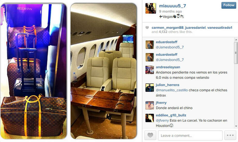 "Jose Rodrigo Arechiga Gamboa, or ""El Chino Antrax,"" posts photos of Louis Vuitton luggage and private jet in this Instagram photo.Photo: Screenshots from Facebook Photo: Courtesy"