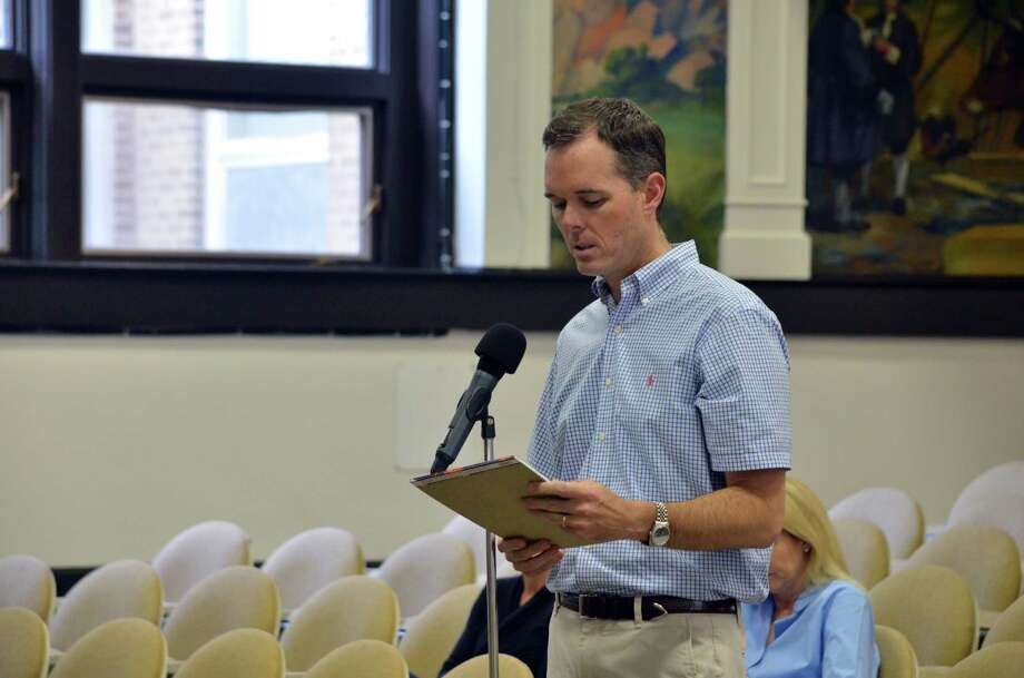 Kevin Schwartz spoke out against the proposed cell tower at the Ox Ridge Hunt Club at a joint meeting of the Board of Selectmen and Planning and Zoning Commission on Monday, June 16. Photo: Megan Spicer / Darien News