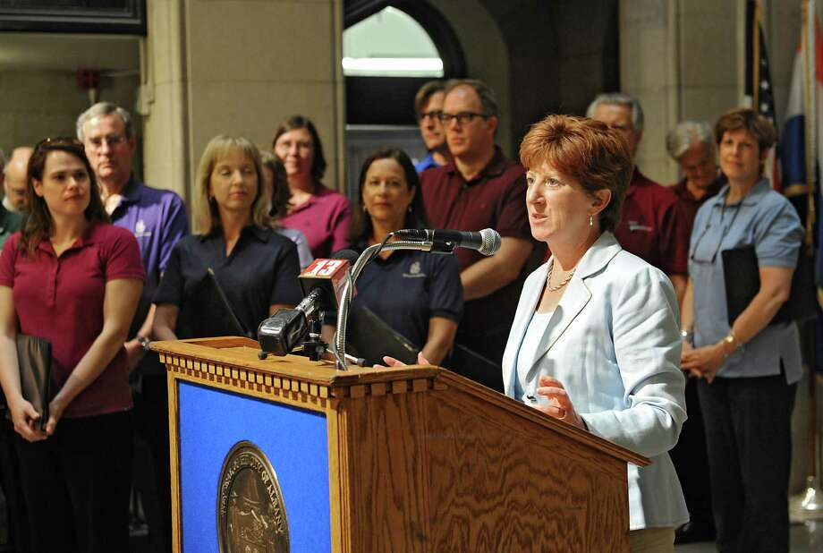 Albany Mayor Kathy Sheehan speaks during a ceremony introducing Jose Daniel Flores-Caraballo as Albany Pro Musica's new artistic director Tuesday, June 17, 2014, at City Hall in Albany, N.Y.  (Lori Van Buren / Times Union) Photo: Lori Van Buren / 00027378A