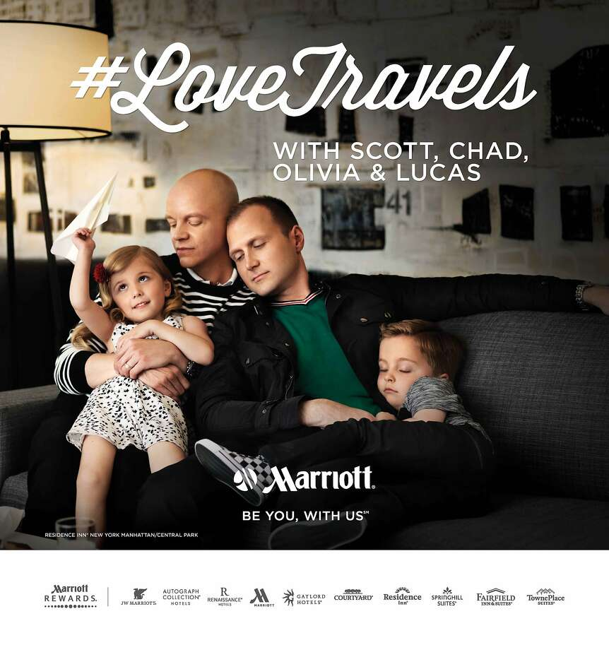 Marriott International's #LoveTravels ad campaign features gay couples and transgender models, and here San Francisco's denizens may recognize the Scott, Chad, Olivia and Lucas family. Photo: Braden Summers
