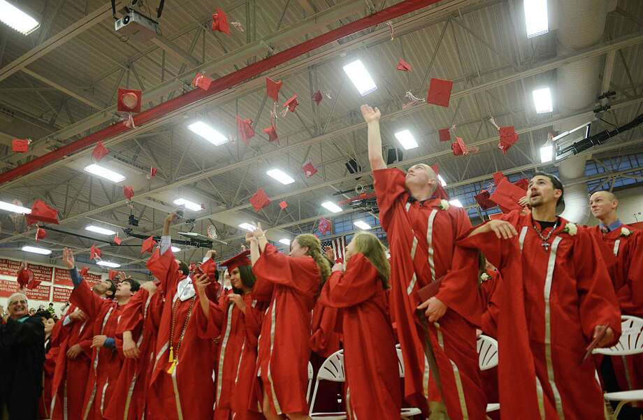 Photos from the Pomperaug High School 2014 Graduation Ceremony at Pomperaug High School in Southbury, Conn. Tuesday, June 17, 2014. Photo: Tyler Sizemore / The News-Times