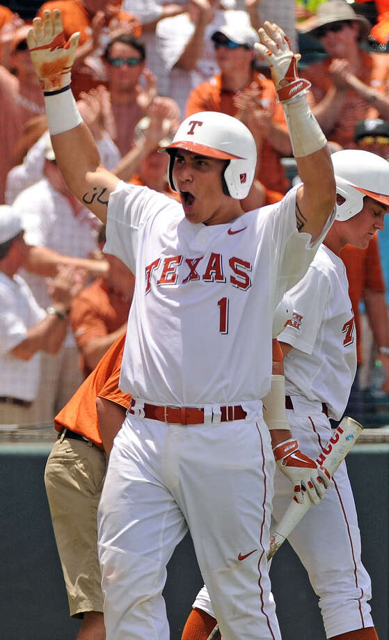 Texas freshman catcher Tres Barrera helped guide the Longhorns' pitching staff to a 2.32 team ERA heading into the College World Series, sixth-best in the nation and UT's best since 2011. Photo: Eric Christian Smith / Houston Chronicle