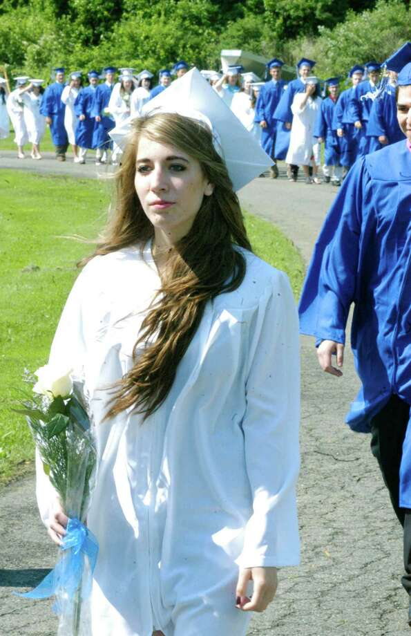 The processional for the Shepaug Valley High School graduation ceremony, June 14, 2014, on the school campus in Washington. Photo: Norm Cummings / The News-Times