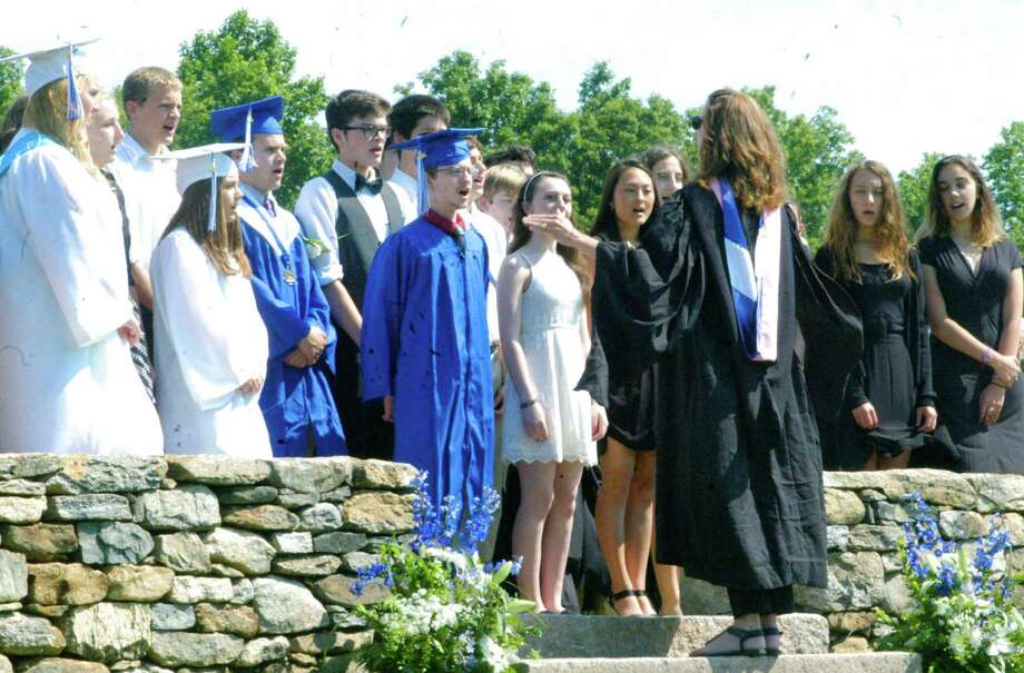 The school chorus performs The Star Spangled Banner during the Shepaug Valley High School graduation ceremony, June 14, 2014, on the school campus in Washington. Photo: Norm Cummings / The News-Times