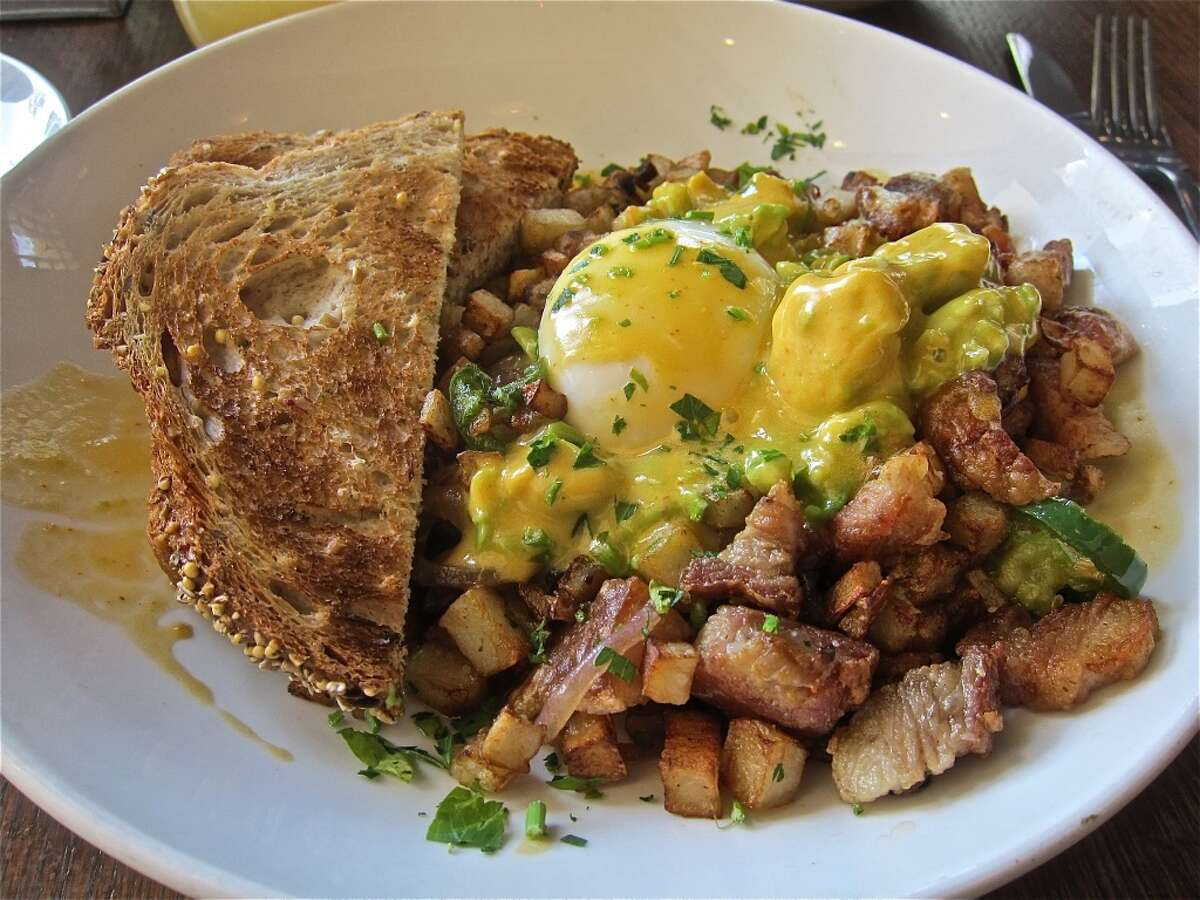 Pork-belly hash with farm egg and Hollandaise, from the brunch menu at Dish Society.