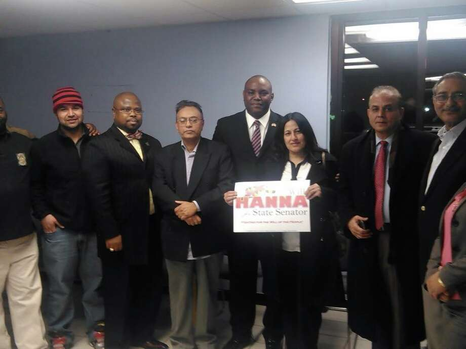 Hanna, pictured at a fundraiser in Northwest Baltimore, with supporters. Photo: Courtesy Facebook