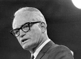 In this Aug. 6, 1968 black-and-white file photo, 1964 Republican presidential candidate, Barry Goldwater, addresses the Republican National Convention in Miami Beach. Mitt Romney did not mention the war in Afghanistan, where 79,000 US troops are fighting, in his speech accepting the Republican presidential nomination on Thursday. The last time a Republican presidential nominee did not address war was 1952, when Dwight Eisenhower spoke generally about American power and spreading freedom around the world but did not explicitly mention armed conflict. Below are examples of how other Republican nominees have addressed the issue over the years, both in peacetime and in war. (AP Photo/File