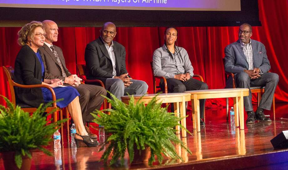 CBS Sports journalist Lesley Visser, left, moderates a panel that includes former New York Rangers captain and six-time Stanley Cup champion, Mark Messier, who lives in Greenwich; Harry Carson, former linebacker and captain of the New York Giants; Teresa Witherspoon, former NY Liberty/LA Sparks Star; and Earl 'The Pearl' Monroe, former New York Knickerbocker and NBA champion at 'Character, Respect, and Civility in Sports: Ending Bullying, Improving Performance.' Photo: © NYU-SCPS/Mark McQueen