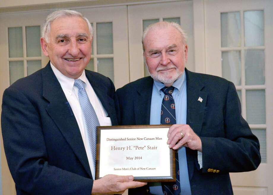 "Ralph Hills, left, presents Henry H. ""Pete"" Stair with the 2014 Distinguished Senior New Canaan Man Award from the Senior Men's Club of New Canaan. Photo: Contributed Photo, Contributed / New Canaan News Contributed"