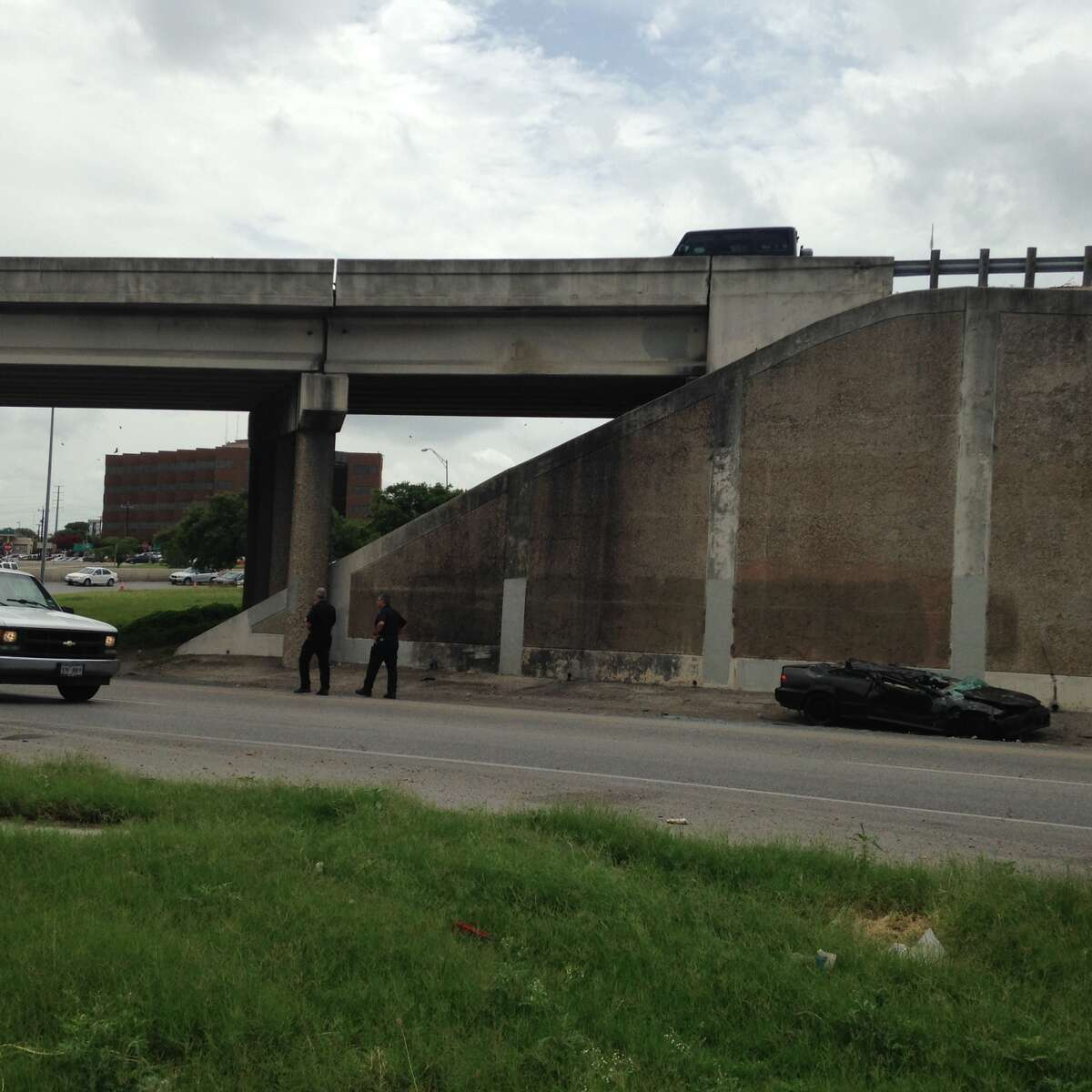Injuries were reported in a rollover accident on the Loop 410 westbound exit ramp from northbound Interstate 35.
