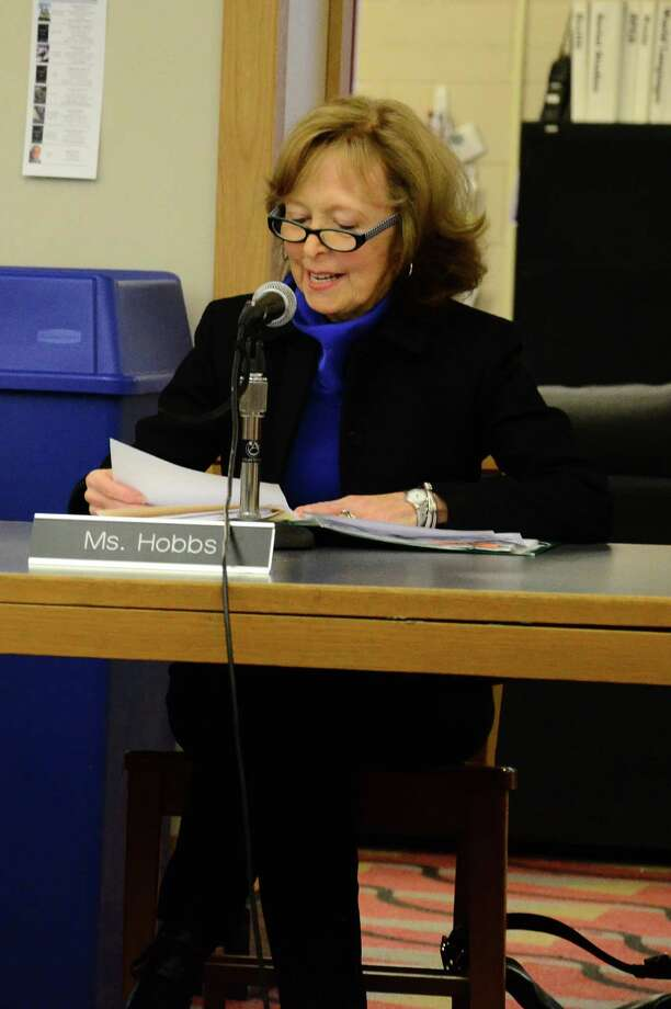 Board of Education Chairman Hazel Hobbs at a March 17, 2014, meeting at New Canaan High School in New Canaan, Conn. In a letter June 9, Hobbs and the board addressed suggestions made by the town to consolidate noneducational services between town departments and the schools. Photo: Nelson Oliveira / New Canaan News