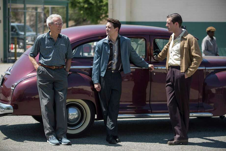 "This photo released by Warner Bros. shows director/producer, Clint Eastwood, from left, Vincent Piazza and Michael Lomenda on the set of Warner Bros. Pictures' musical ""Jersey Boys,"" a Warner Bros. Pictures release. (AP Photo/Warner Bros. Pictures, Keith Bernstein) ORG XMIT: CAET932 Photo: Keith Bernstein / Warner Bros. Pictures"