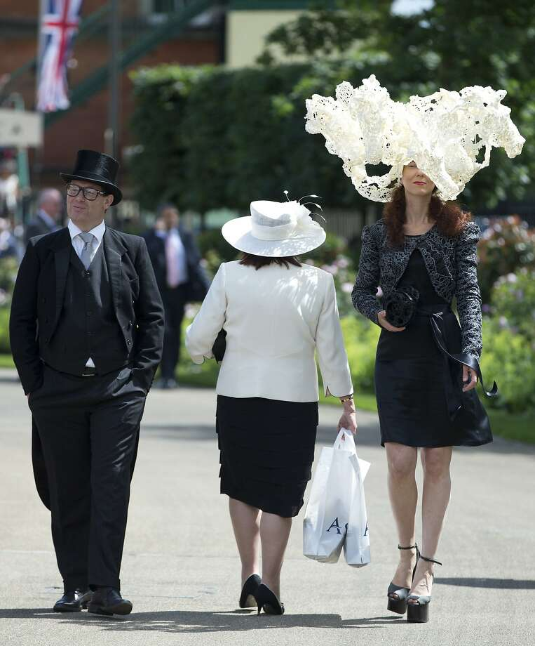Horsey head-wear lets the world know that Larisa Katz will be attending the Royal Ascot horse racing meeting int Ascot, England. Britain's leading hat fancier - Queen Elizabeth II - will also be present for every day of the five-day event. Photo: Alastair Grant, Associated Press