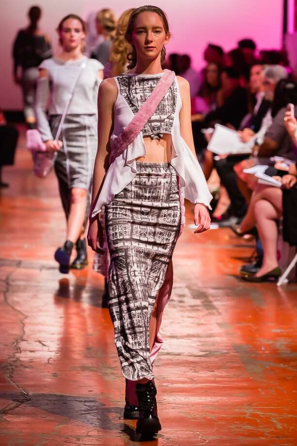 A design by Anacelia Castro is shown at the Art Institute of California - San Francisco's annual student fashion show June 14 at SOMArts Gallery. Photo: Nicolas Ardelean