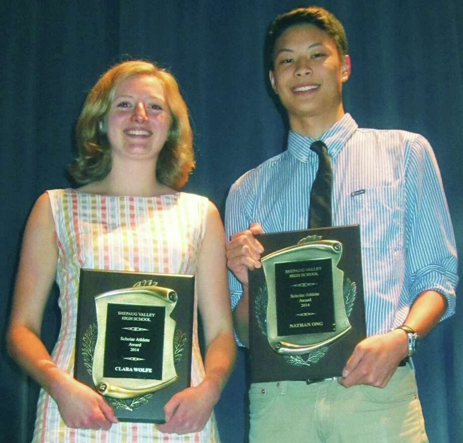 Recognized during Shepaug Valley High School's annual athletic awards ceremony as the school's top scholar-athletes were Clara Wolfe and Nathan Ong, June 6, 2014 at the school in Washington. Clara and Nathan were later honored as the top Spartan female and male athletes over the past four years. Photo: Norm Cummings / The News-Times
