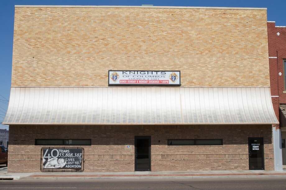 An anti-abortion billboard adore the outside of a Knights of Columbus council building in downtown Liberal, KS. Photo: Douglas Zimmerman, Courtesy