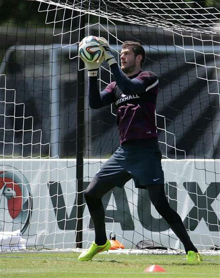 (5) Fraser Forster of England. Could be two first names and two last names. Use one for each and you have a pretty cool name, especially for a goalkeeper. (AP Photo/Lynne Sladk