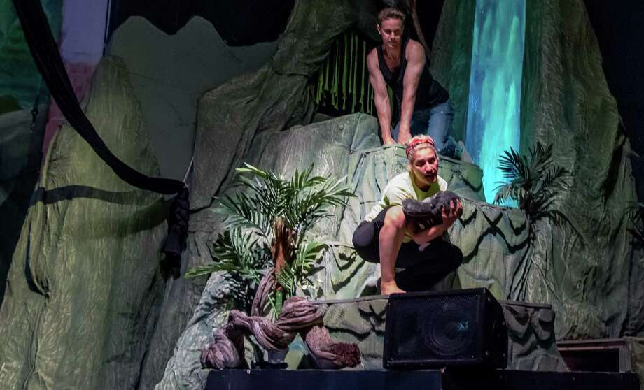 "Kurt Wehner (from top) and Linda Sanchez are part of the cast of ""Tarzan"" at the Woodlawn Theatre. Photo: Courtesy Woodlawn Theatre"