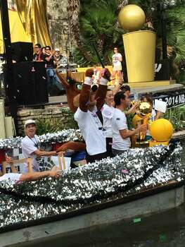 The Spurs Coyote pumps up the crowd at the Arneson River Theatre during the Spurs victory parade on Wednesday, June 18, 2014. Photo: Mitchell Ferman / San Antonio Express-News