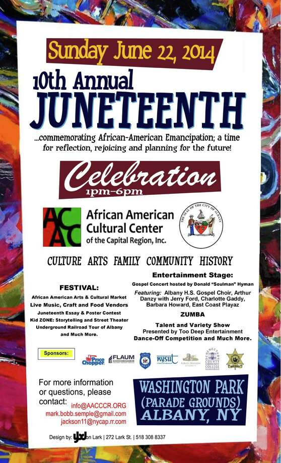 Flier for Albany's 10th annual Juneteenth celebration Sunday in Wasington Park.