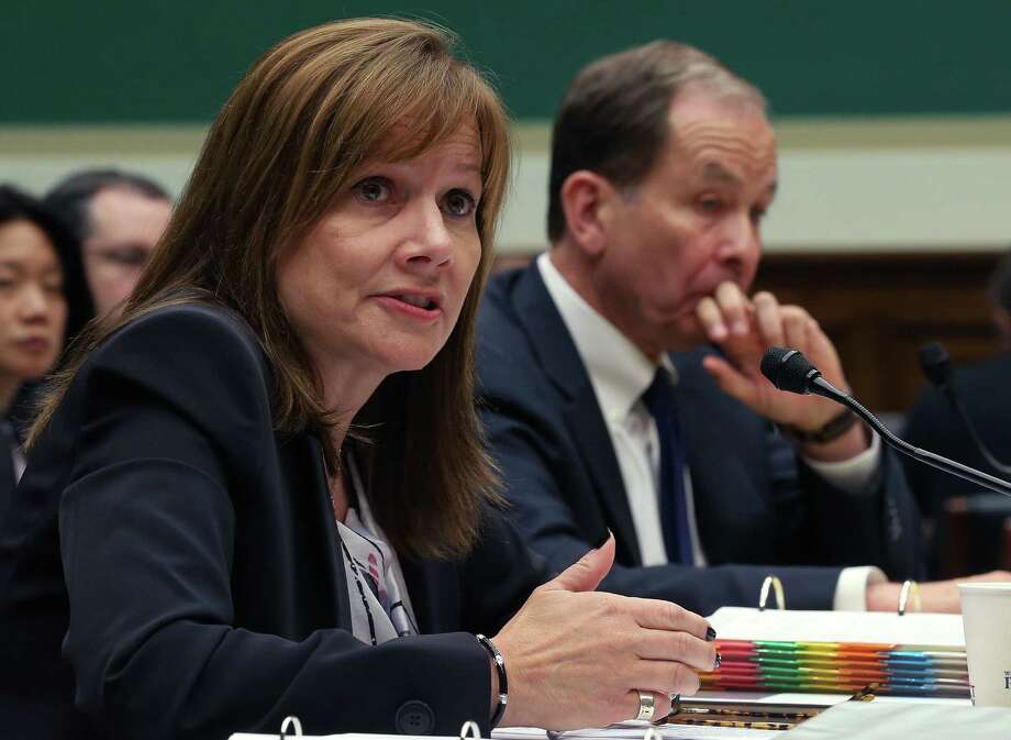 General Motors CEO Mary Barra and Anton Valukas, a former federal prosecutor hired by GM to examine the reasons for the company's failure to act, field questions from lawmakers. Photo: Mark Wilson / Getty Images / 2014 Getty Images