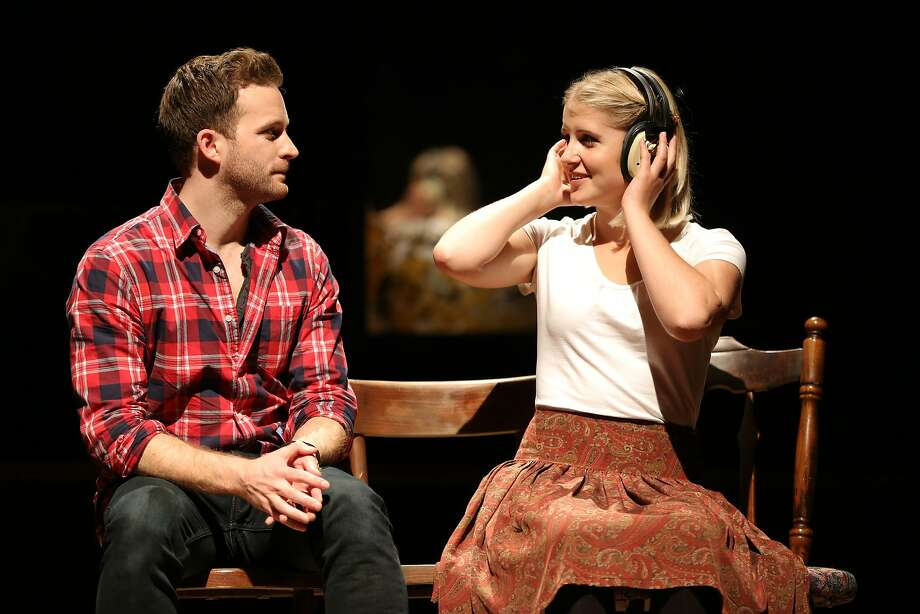 "Irish busker the Guy (Stuart Ward) and Czech musician the Girl (Dani De Waal) find some harmony in ""Once."" Photo: Joan Marcus"