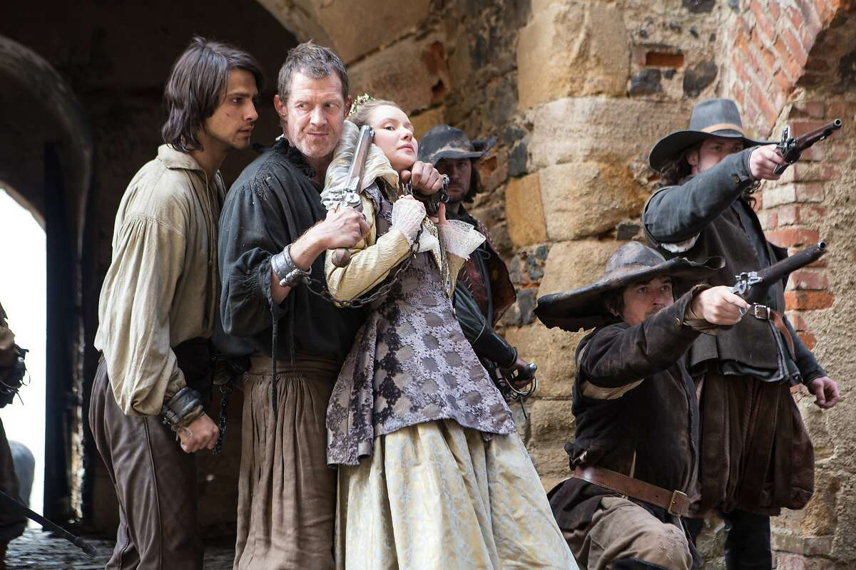 THE MUSKETEERS D?•Artagnan (LUKE PASQUALINO), Vadim (JASON FLEMYNG) and Queen Anne (ALEXANDRA DOWLING)