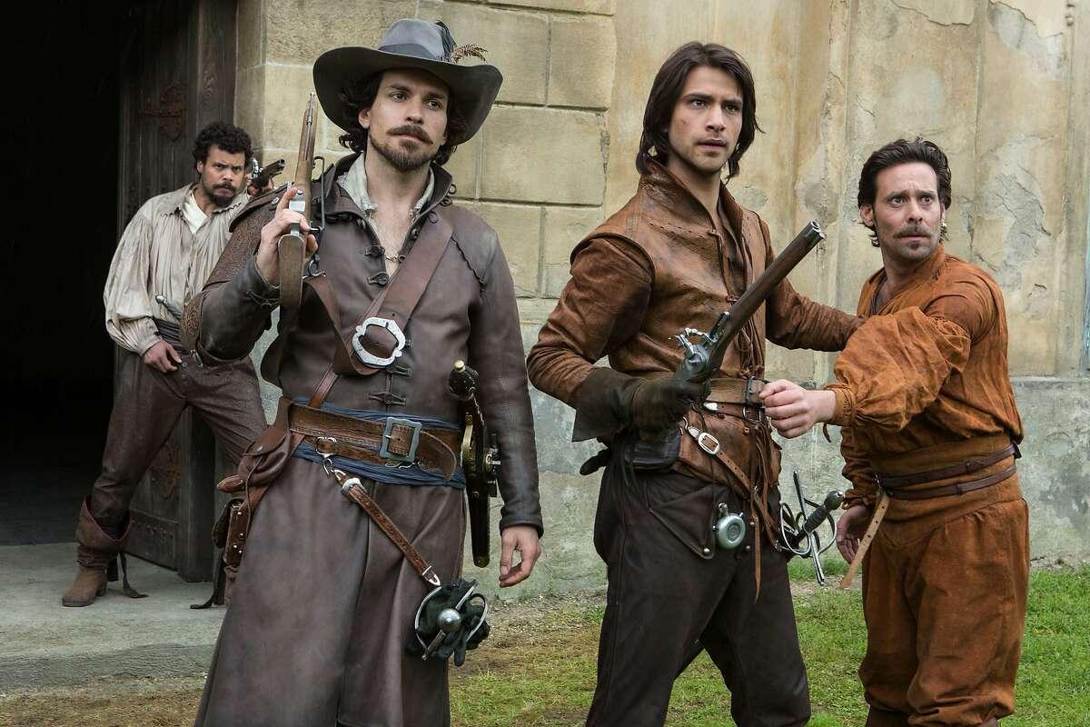 THE MUSKETEERS Porthos (HOWARD CHARLES), Aramis (SANTIAGO CABRERA), D?•Artagnan (LUKE PASQUALINO) and Emile Bonnaire (JAMES CALLIS)