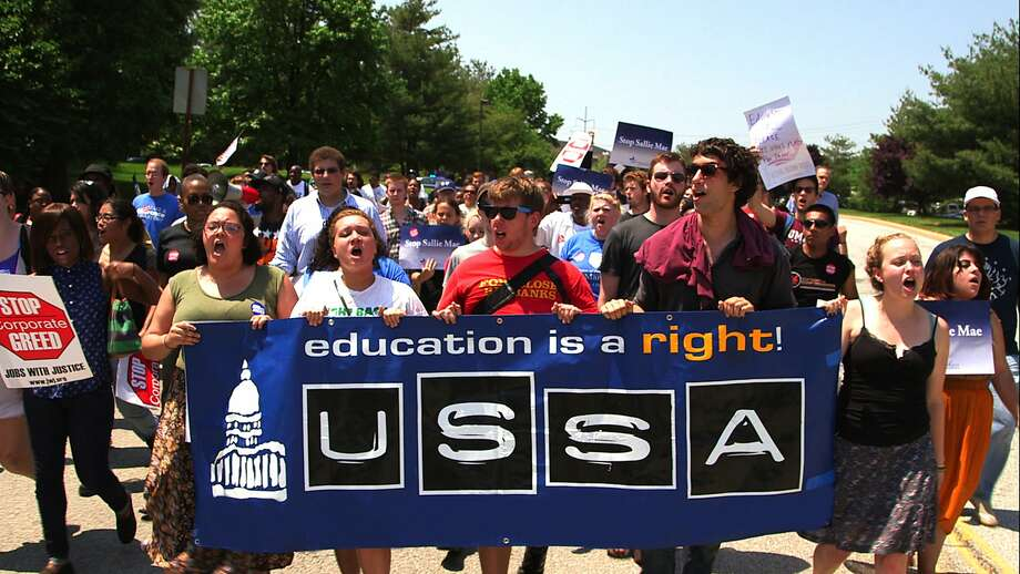 """This debt protest is one of the scenes in """"Ivory Tower,"""" which examines the high costs of many U.S. universities. Photo: MGM"""