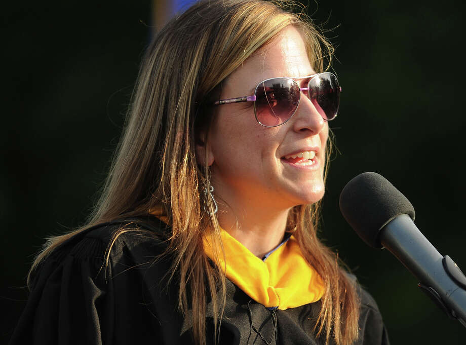Teacher Sara Bassett delivers the traditional Commencement Address at the Fairfield Ludlowe High School Commencement Exercises in Fairfield, Conn. on Wednesday, June 18, 2014. Photo: Brian A. Pounds / Connecticut Post