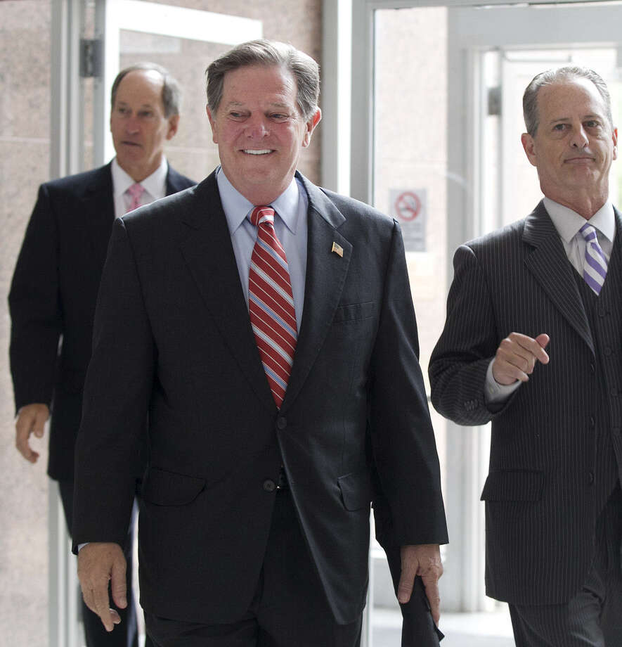 Tom DeLay (center) arrives at the Texas Court of Criminal Appeals in Austin. The court could clear DeLay. Photo: Deborah Cannon / Austin American-Statesman / Austin American-Statesman