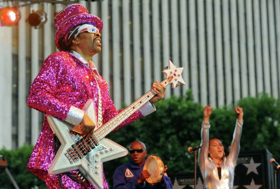 Funk music great Bootsy Collins entertains at the Empire State Plaza on Wednesday June 18, 2014 in Albany, N.Y.  (Michael P. Farrell/Times Union) Photo: Michael P. Farrell / 00027118A
