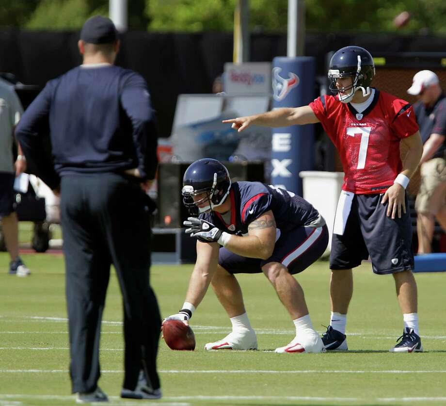 "Coach Bill O'Brien, left, says of quarterback Case Keenum (7): ""He's coachable, puts in a lot of time, and he's working extremely hard at it."" Photo: James Nielsen, Staff / © 2014  Houston Chronicle"