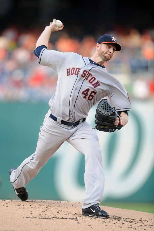 June 18: Nationals 6, Astros 5  Scott Feldman pitches in the first inning during. Photo: Mitchell Layton, Getty Images
