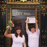 """Jen Whalen and I had a commitment ceremony in Sonoma in 2012 with all of our closest friends and family, but we were legally married at S.F. City Hall on August 9, 2013 after the Supreme Court struck down DOMA. It was an intimate ceremony followed by brunch with immediate family at Absinthe."""