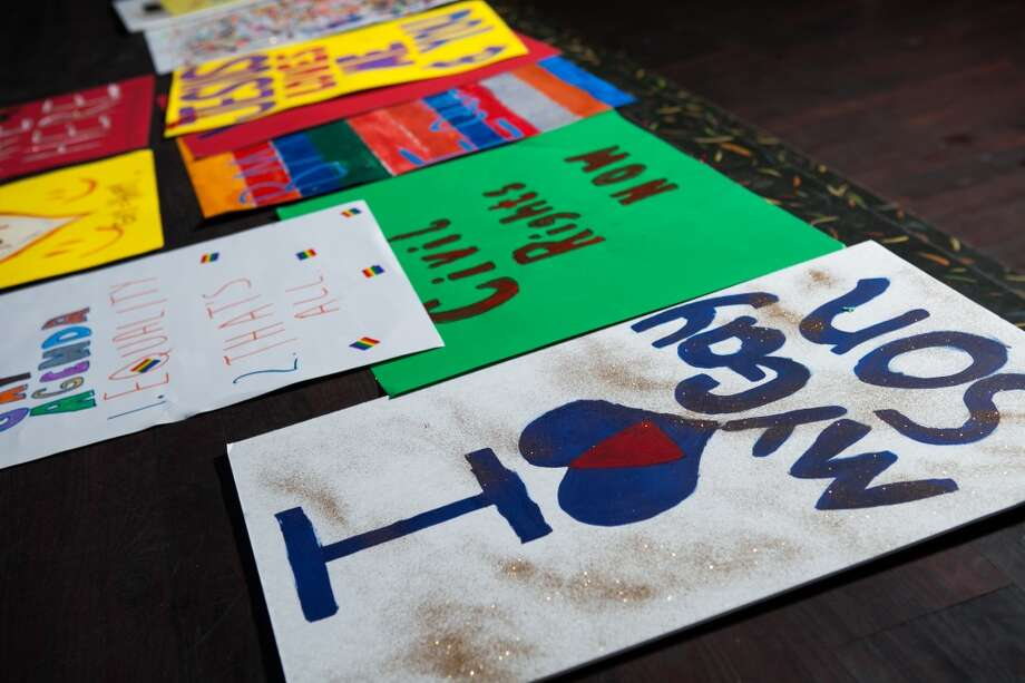 Supporters of Beaumont's first Pride walk get colorful and creative in preparation for the Pride walk that will take place on June 21 in downtown Beaumont. Beaumont Pride is the city's first gay pride festival. Photo: Lacie Grant/cat5