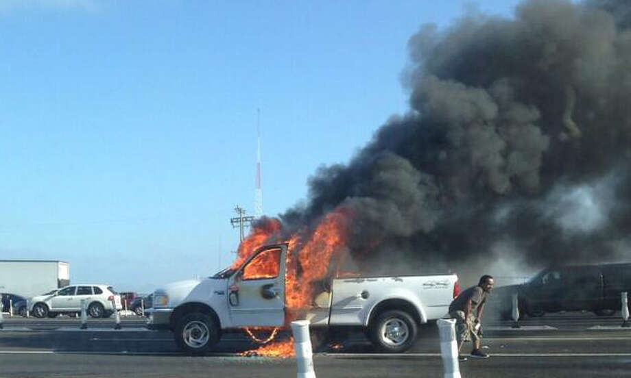 A truck on fire near the bay bridge toll plaza on Thursday morning. Photo: Courtesy Jamie Sparr