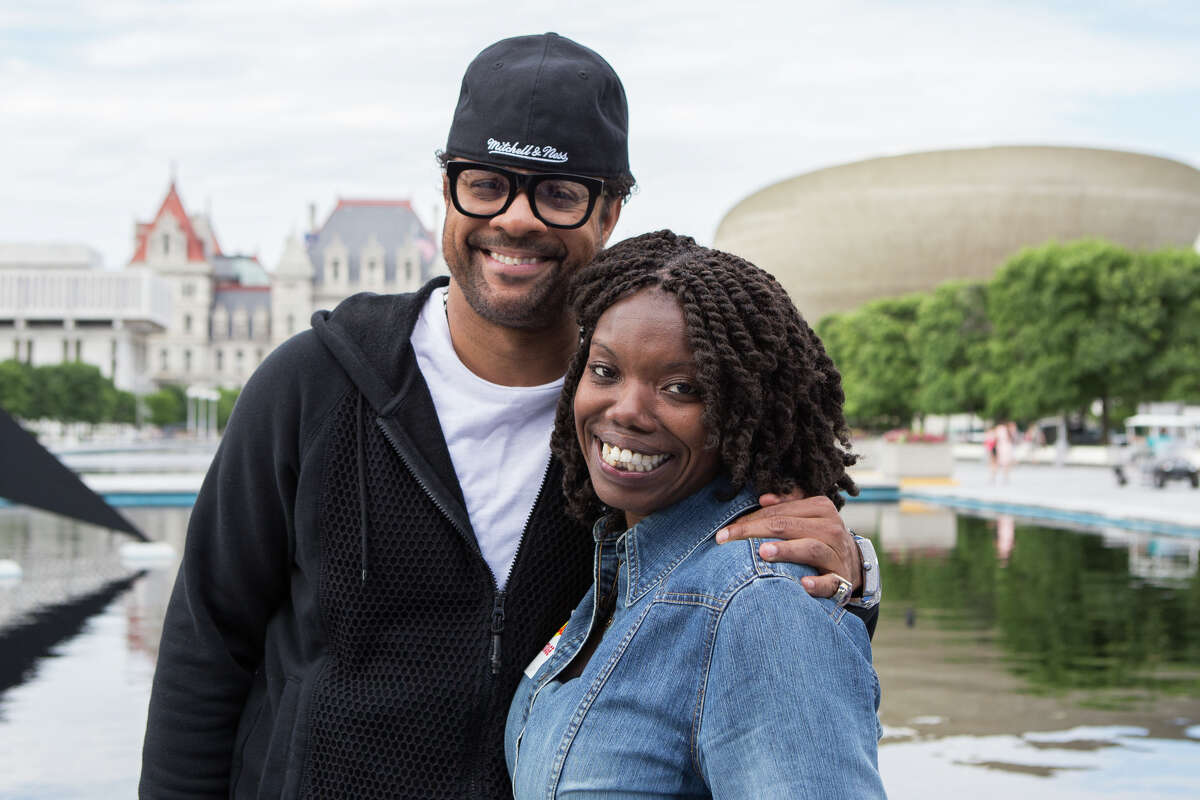 Shaggy, left, with Rhonda McLam of Albany, winner of the Timesunion.com Meet & Greet contest, at the Empire State Plaza in Albany on Wednesday, June 18, 2014.