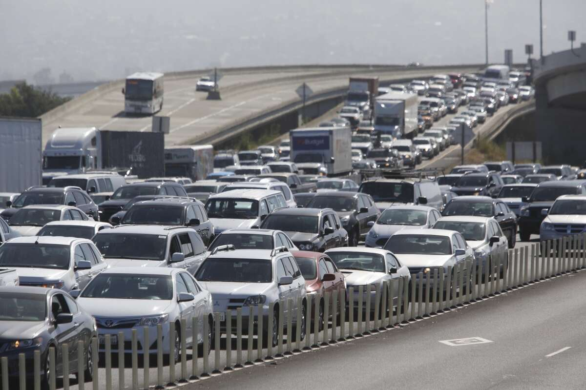 In a file photo, traffic heading to the Bay Bridge in Oakland, Calif.
