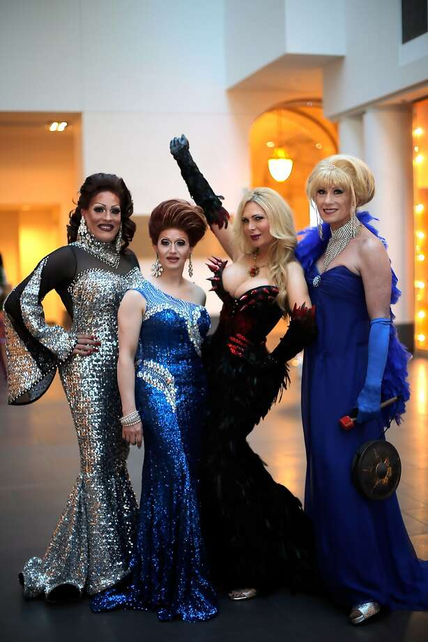 "Draq queens (l-r) Kendra Monroe, Holotta Time, Cassandra Cass, and Donna Sachet pose for a photo at a gala dinner party for the new exhibit, ""Gorgeous,"" at the Asian Art museum, in San Francisco, Calif., on Wednesday, June 18, 2014. Photo: Carlos Avila Gonzalez, The Chronicle"