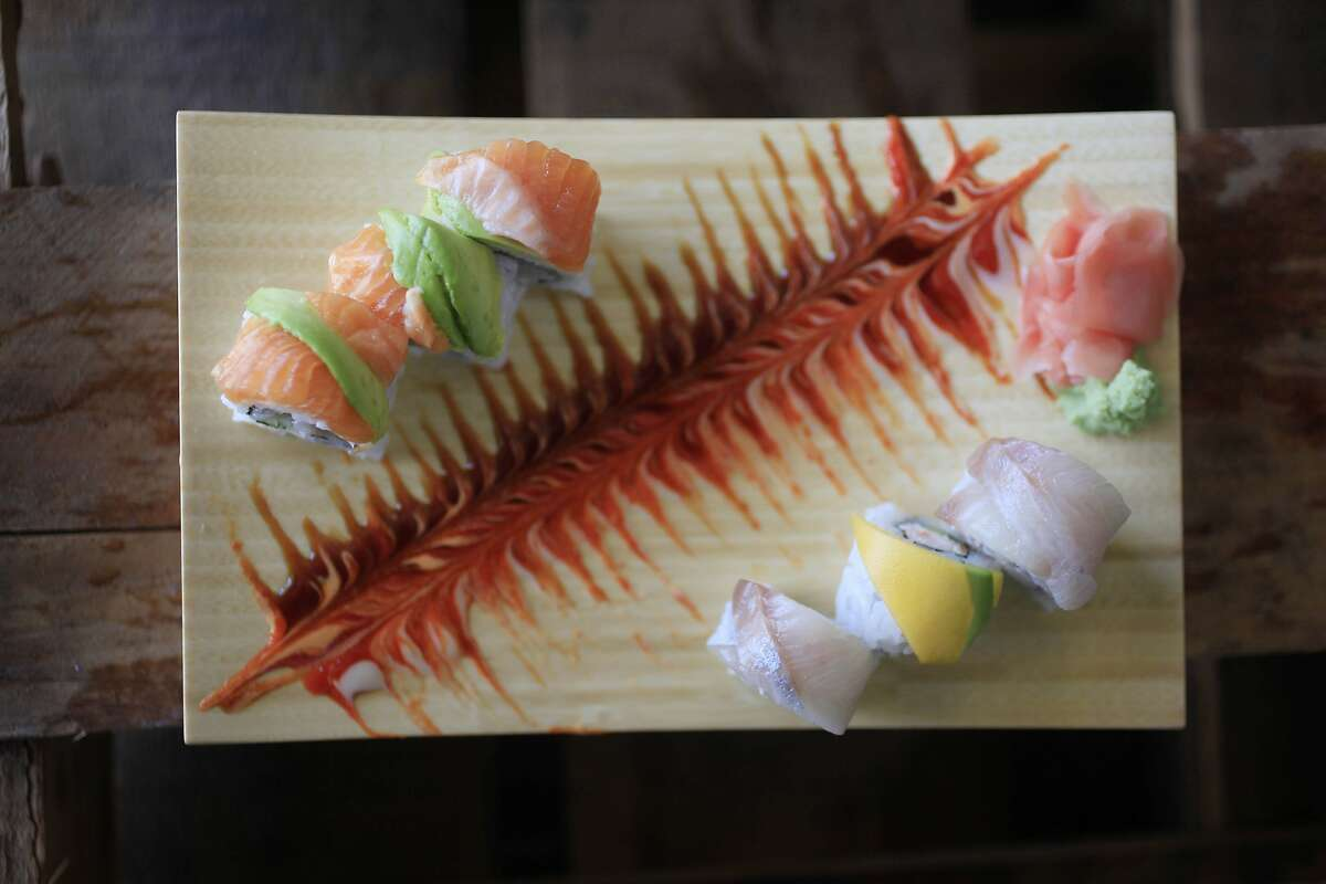 California rolls with different toppings such as sashimi, mango and avocado are seen at L'Chaim Sushi on Tuesday, May 27, 2014 in South San Francisco, Calif.