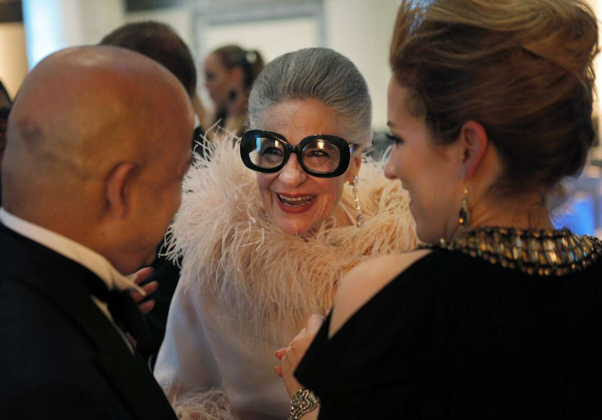 Joy Venturini Bianchi chats with other guests during a gala dinner party for the new exhibit,