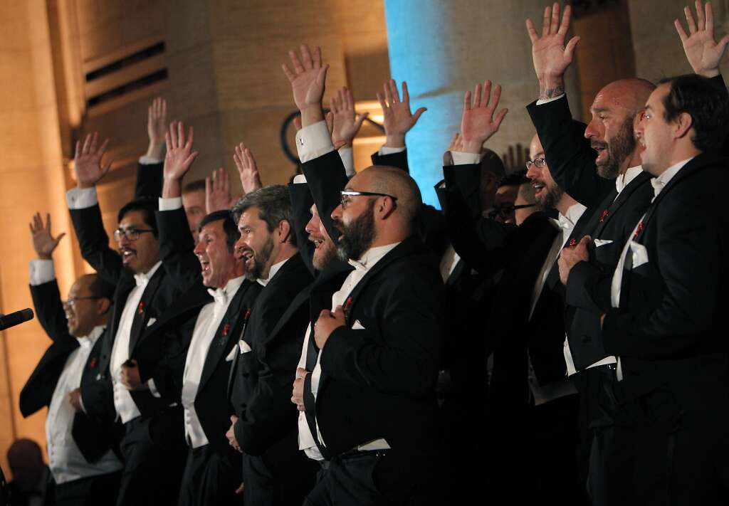 """The San Francisco Gay Men's Chorus performs at a gala dinner party for the new exhibit, """"Gorgeous,"""" at the Asian Art museum, in San Francisco, Calif., on Wednesday, June 18, 2014. Photo: Carlos Avila Gonzalez, The Chronicle"""