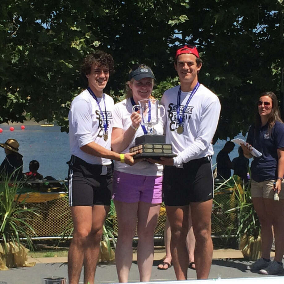 Men's Double Sculls Champions. From left: Jeff Monahan, coach Sharon Kriz, Cameron Yates. Photo: Contributed Photo / Westport News Contributed